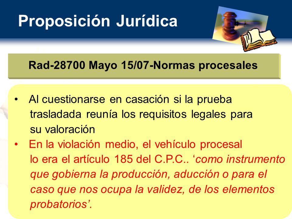 Rad-28700 Mayo 15/07-Normas procesales