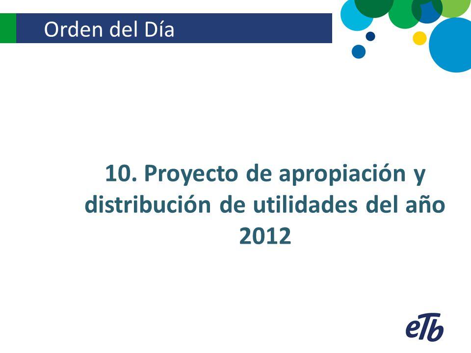 10. Proyecto de apropiación y distribución de utilidades del año 2012