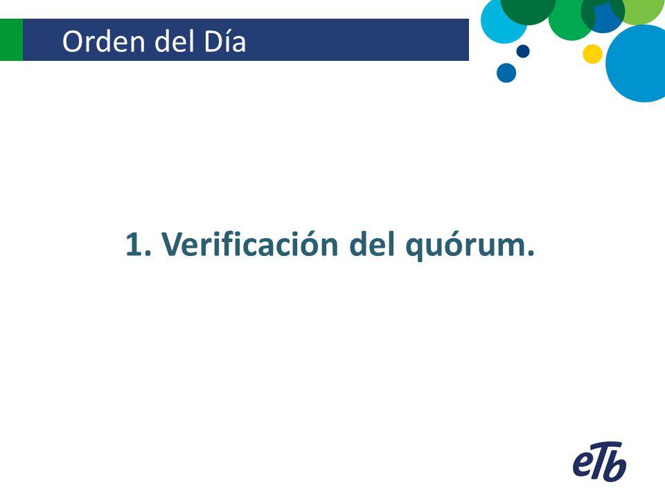 1. Verificación del quórum.