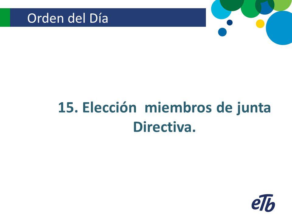 15. Elección miembros de junta Directiva.