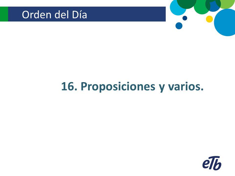 16. Proposiciones y varios.