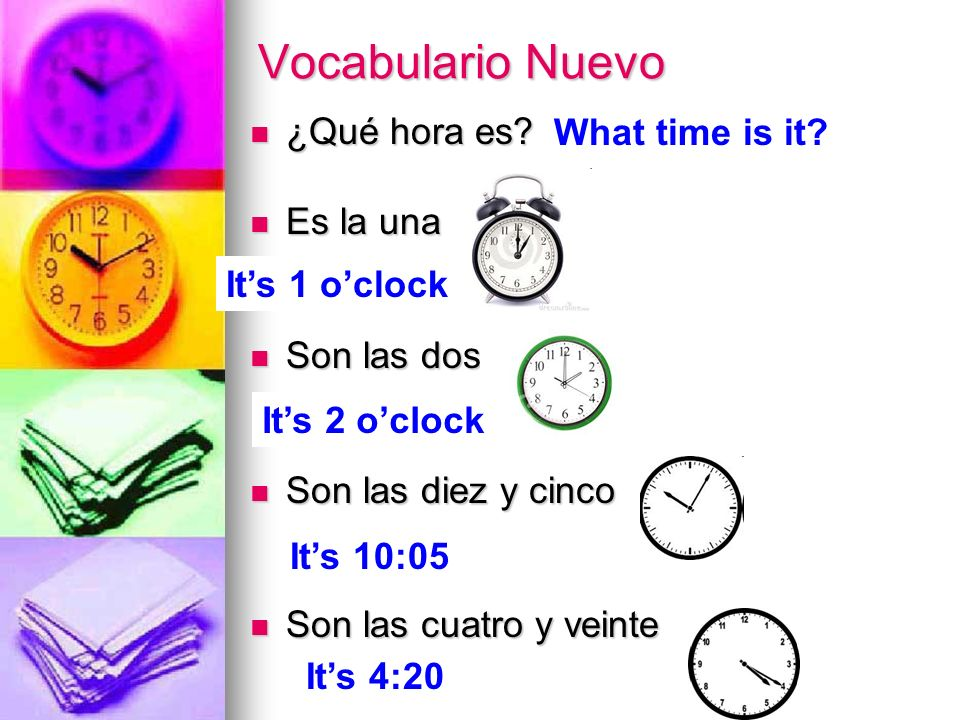 Vocabulario Nuevo What time is it ¿Qué hora es Es la una Son las dos