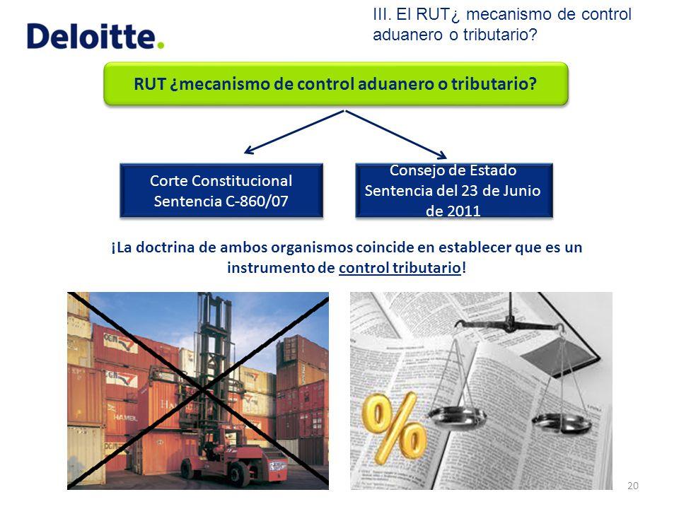 RUT ¿mecanismo de control aduanero o tributario