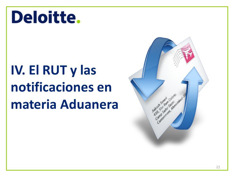 IV. El RUT y las notificaciones en materia Aduanera