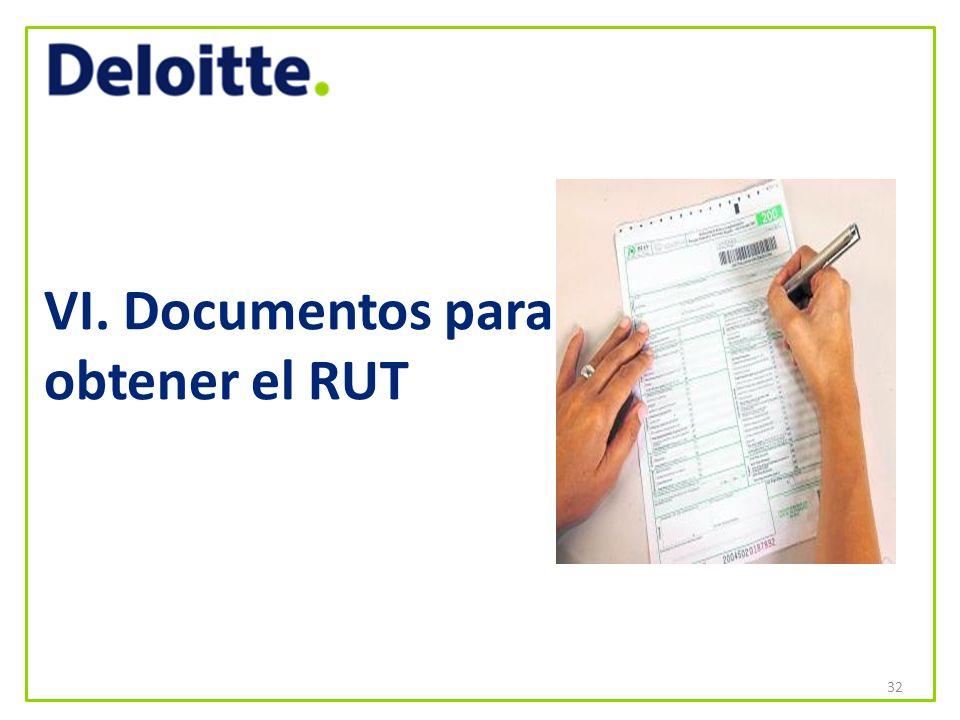 VI. Documentos para obtener el RUT