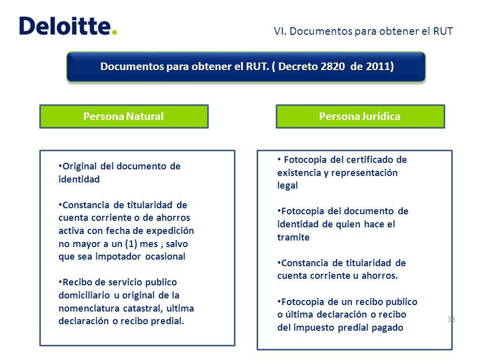 Documentos para obtener el RUT. ( Decreto 2820 de 2011)