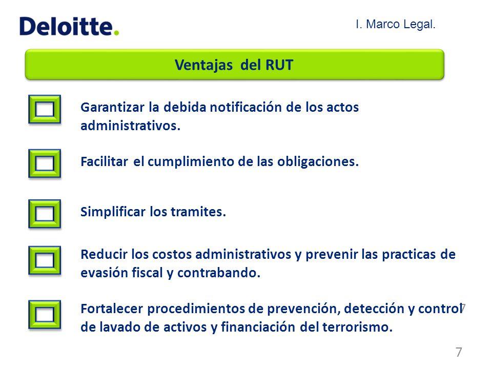 I. Marco Legal. Ventajas del RUT. Garantizar la debida notificación de los actos administrativos.