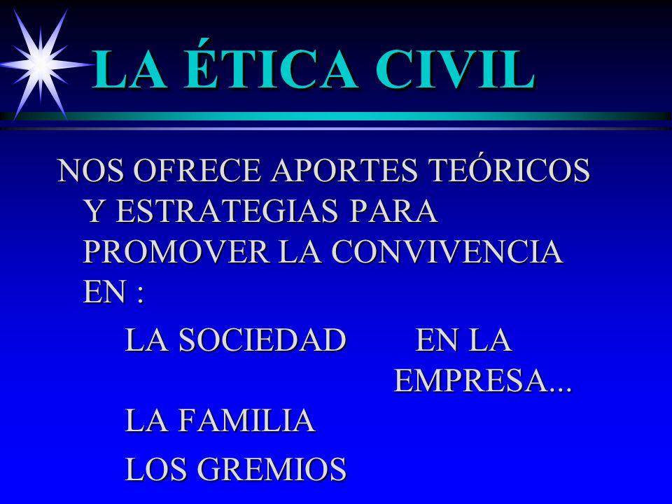 LA ÉTICA CIVIL NOS OFRECE APORTES TEÓRICOS Y ESTRATEGIAS PARA PROMOVER LA CONVIVENCIA EN :