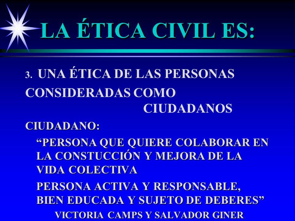LA ÉTICA CIVIL ES: CONSIDERADAS COMO CIUDADANOS CIUDADANO: