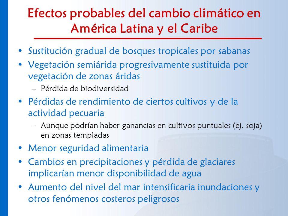 Efectos probables del cambio climático en América Latina y el Caribe