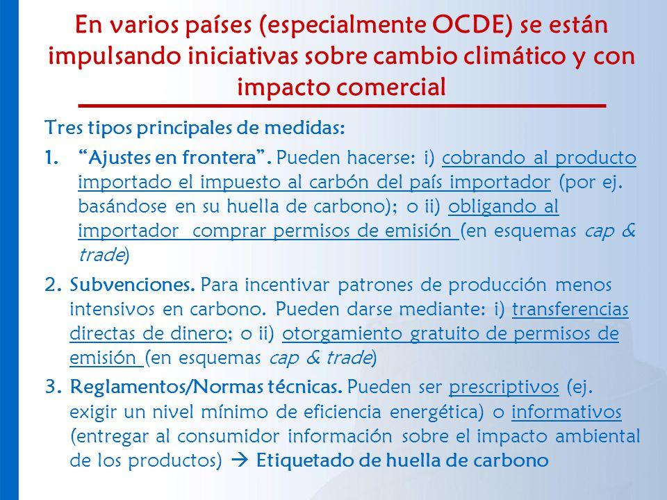 En varios países (especialmente OCDE) se están impulsando iniciativas sobre cambio climático y con impacto comercial