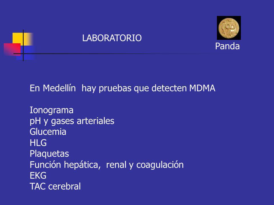 LABORATORIO Panda. En Medellín hay pruebas que detecten MDMA. Ionograma. pH y gases arteriales.
