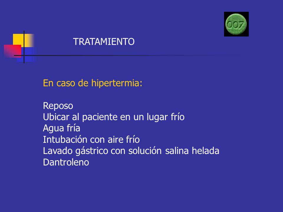TRATAMIENTO En caso de hipertermia: Reposo. Ubicar al paciente en un lugar frío. Agua fría. Intubación con aire frío.