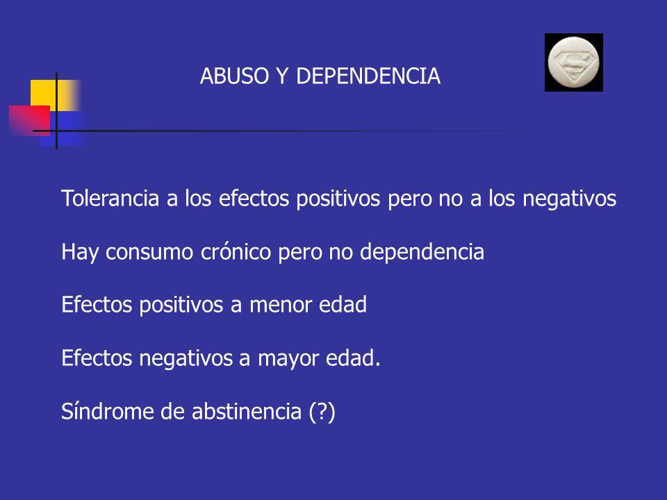 ABUSO Y DEPENDENCIA Tolerancia a los efectos positivos pero no a los negativos. Hay consumo crónico pero no dependencia.