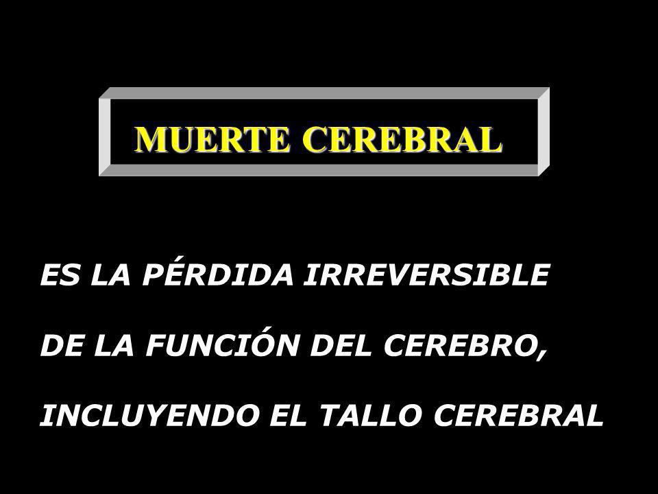 MUERTE CEREBRAL ES LA PÉRDIDA IRREVERSIBLE DE LA FUNCIÓN DEL CEREBRO,