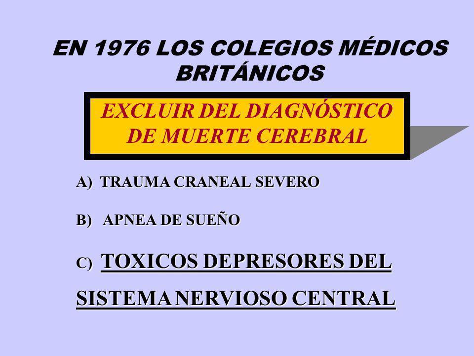 EXCLUIR DEL DIAGNÓSTICO DE MUERTE CEREBRAL