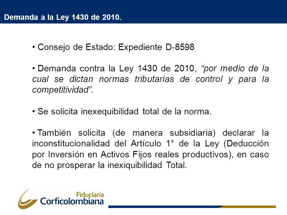 Demanda a la Ley 1430 de 2010. Fundamentos de la demanda: