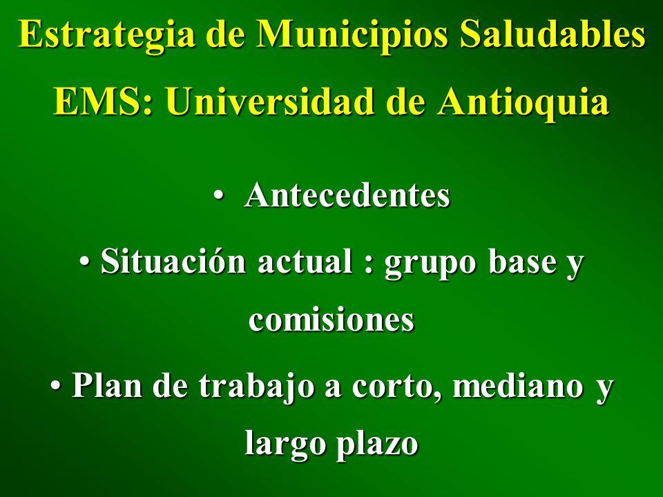 Estrategia de Municipios Saludables EMS: Universidad de Antioquia