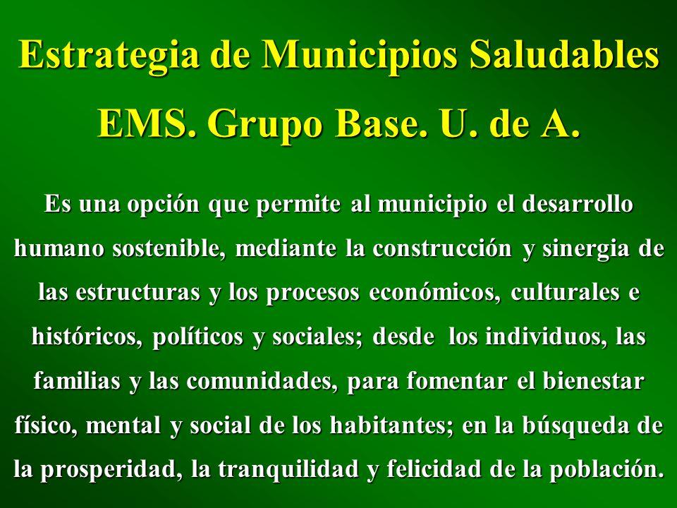 Estrategia de Municipios Saludables EMS. Grupo Base. U. de A.