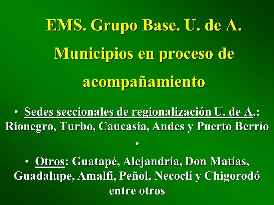 EMS. Grupo Base. U. de A. Municipios en proceso de acompañamiento