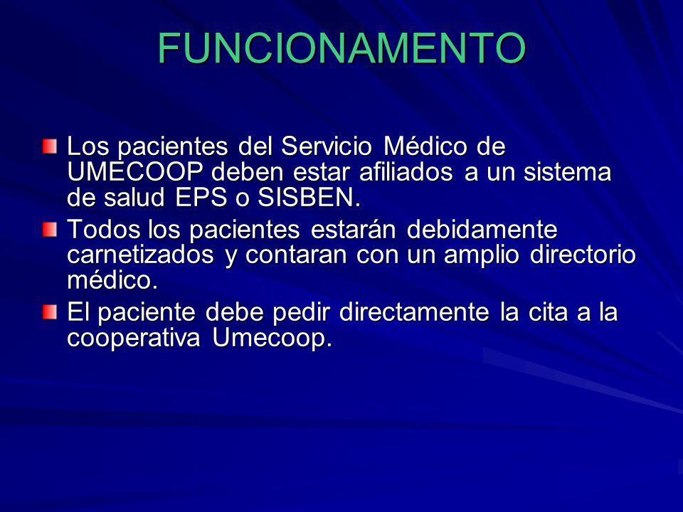 FUNCIONAMENTO Los pacientes del Servicio Médico de UMECOOP deben estar afiliados a un sistema de salud EPS o SISBEN.