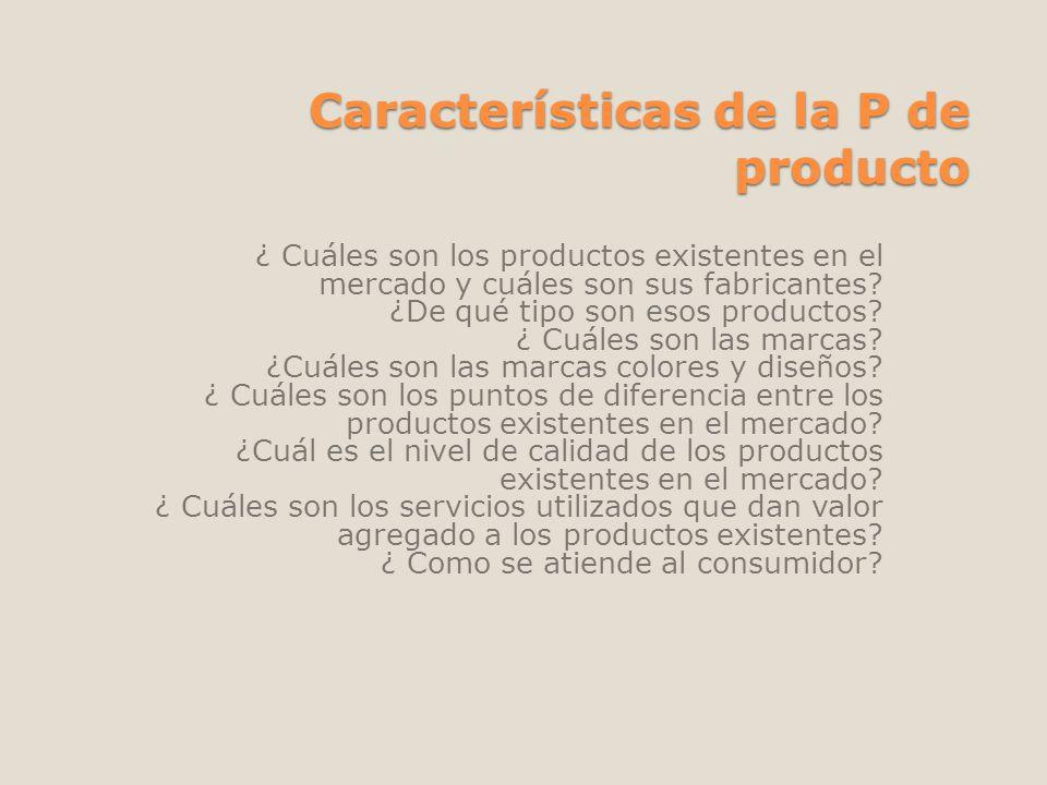 Características de la P de producto