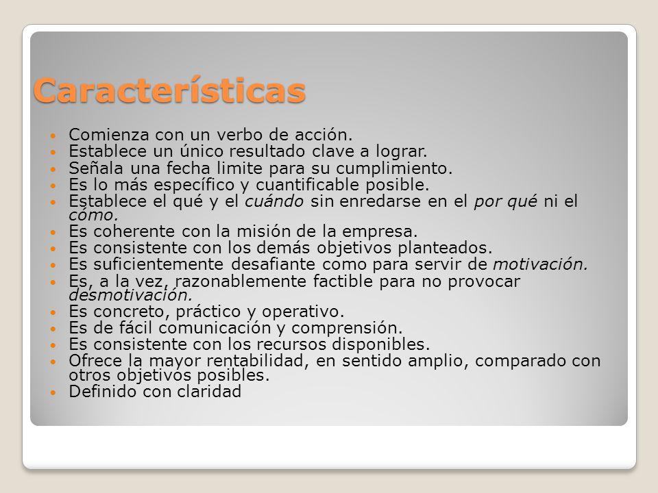 Características Comienza con un verbo de acción.