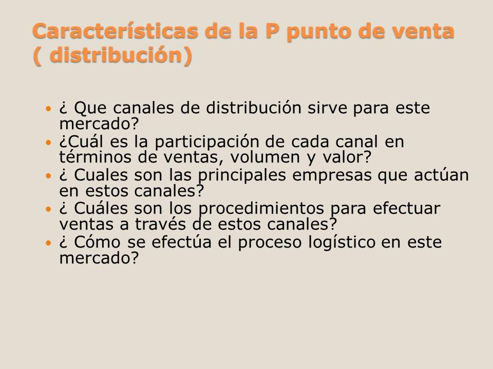 Características de la P punto de venta ( distribución)