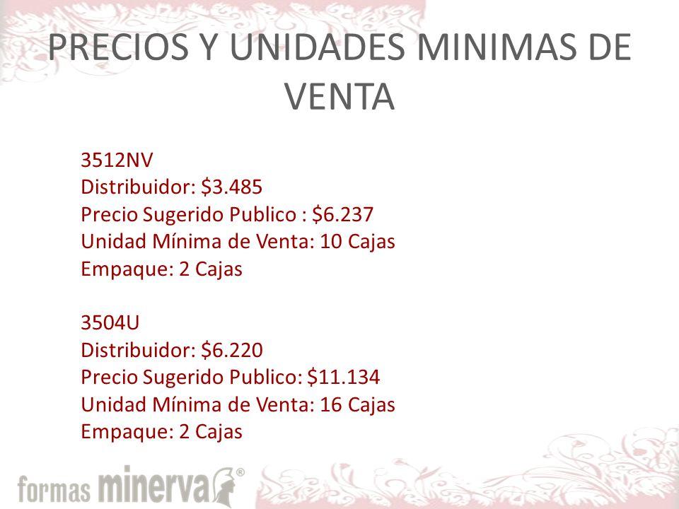 PRECIOS Y UNIDADES MINIMAS DE VENTA
