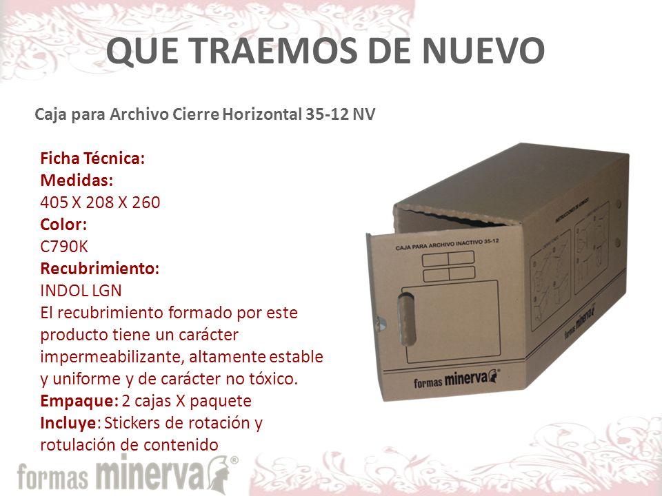 QUE TRAEMOS DE NUEVO Caja para Archivo Cierre Horizontal 35-12 NV