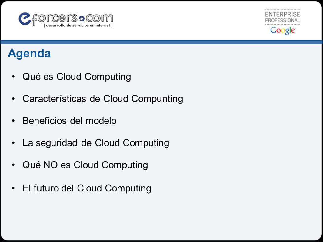 Agenda Qué es Cloud Computing Características de Cloud Compunting