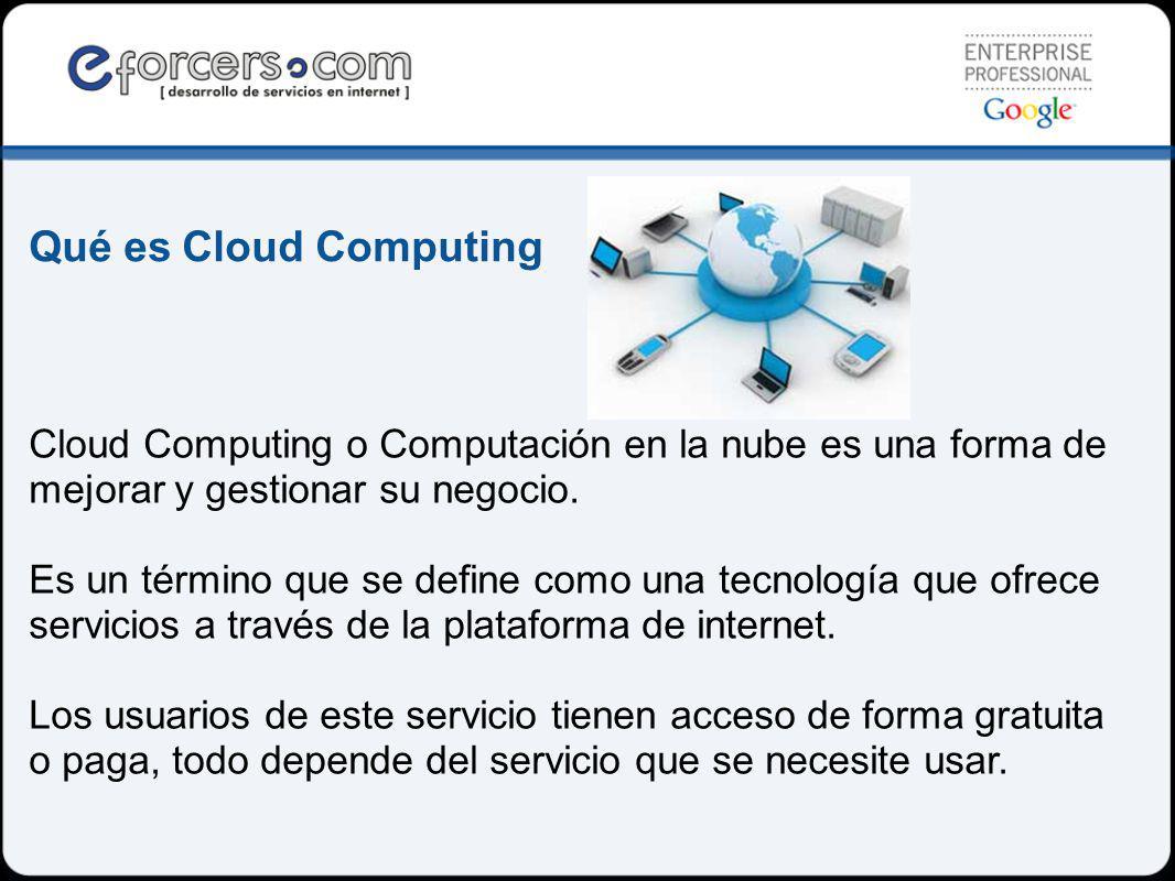Qué es Cloud Computing Cloud Computing o Computación en la nube es una forma de mejorar y gestionar su negocio.