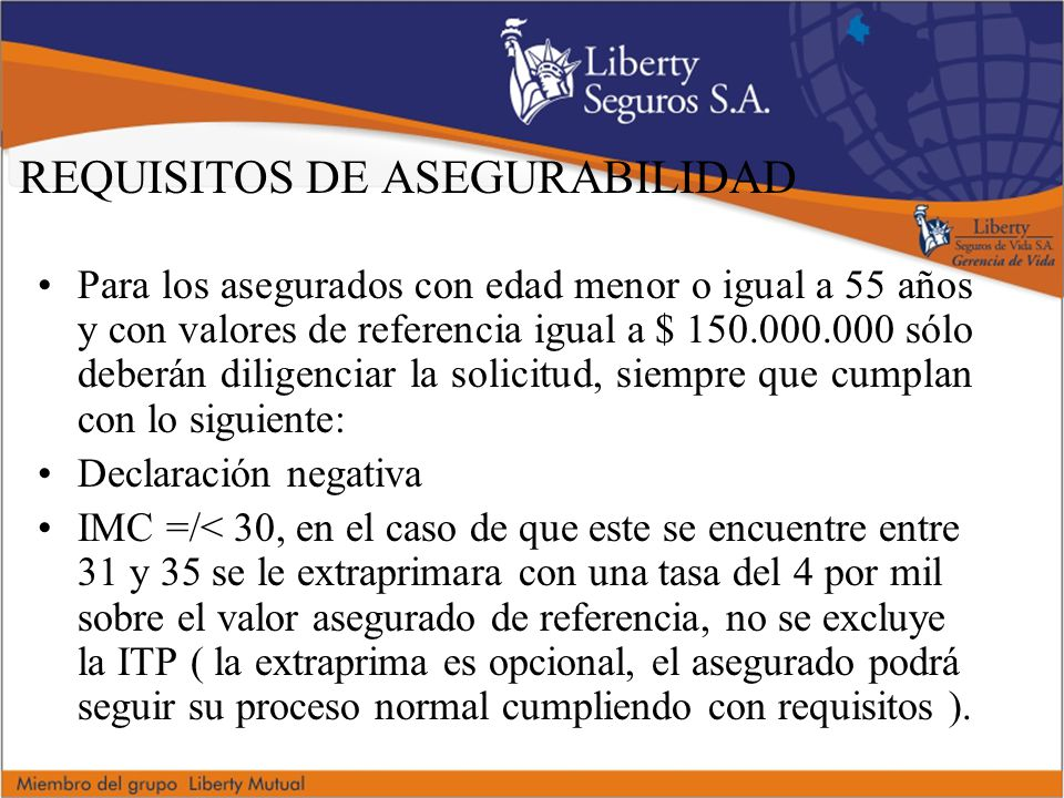REQUISITOS DE ASEGURABILIDAD