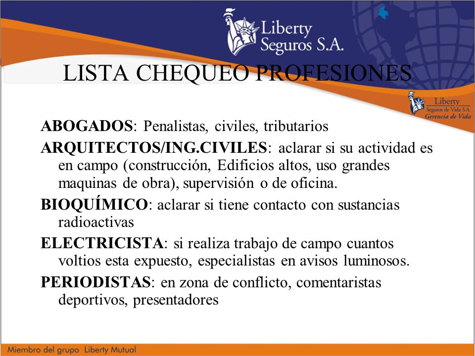 LISTA CHEQUEO PROFESIONES