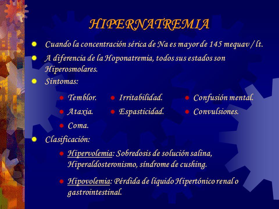 HIPERNATREMIA Cuando la concentración sérica de Na es mayor de 145 mequav / lt.