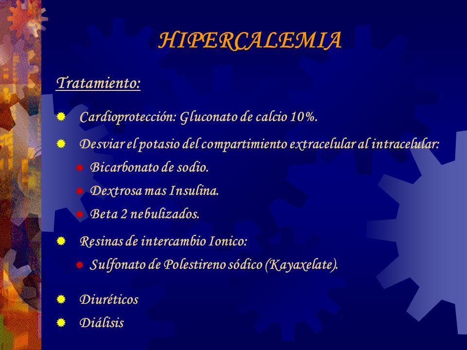 HIPERCALEMIA Tratamiento: Cardioprotección: Gluconato de calcio 10%.