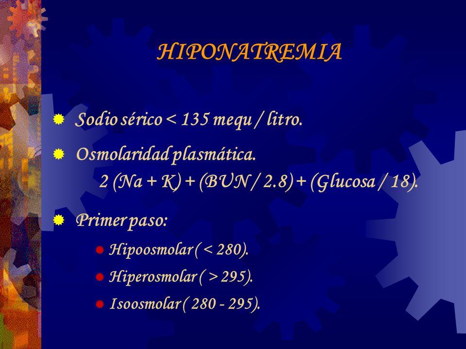 HIPONATREMIA Sodio sérico < 135 mequ / litro.