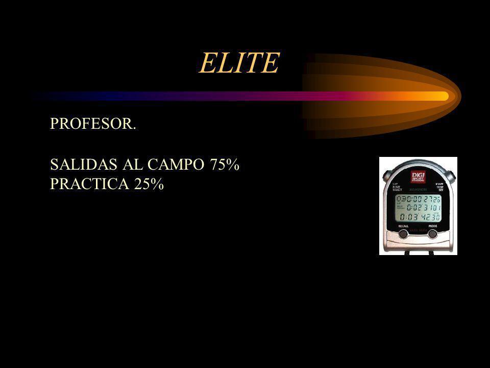 ELITE PROFESOR. SALIDAS AL CAMPO 75% PRACTICA 25%