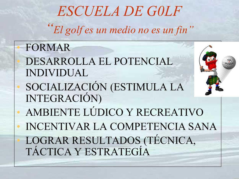 ESCUELA DE G0LF El golf es un medio no es un fin