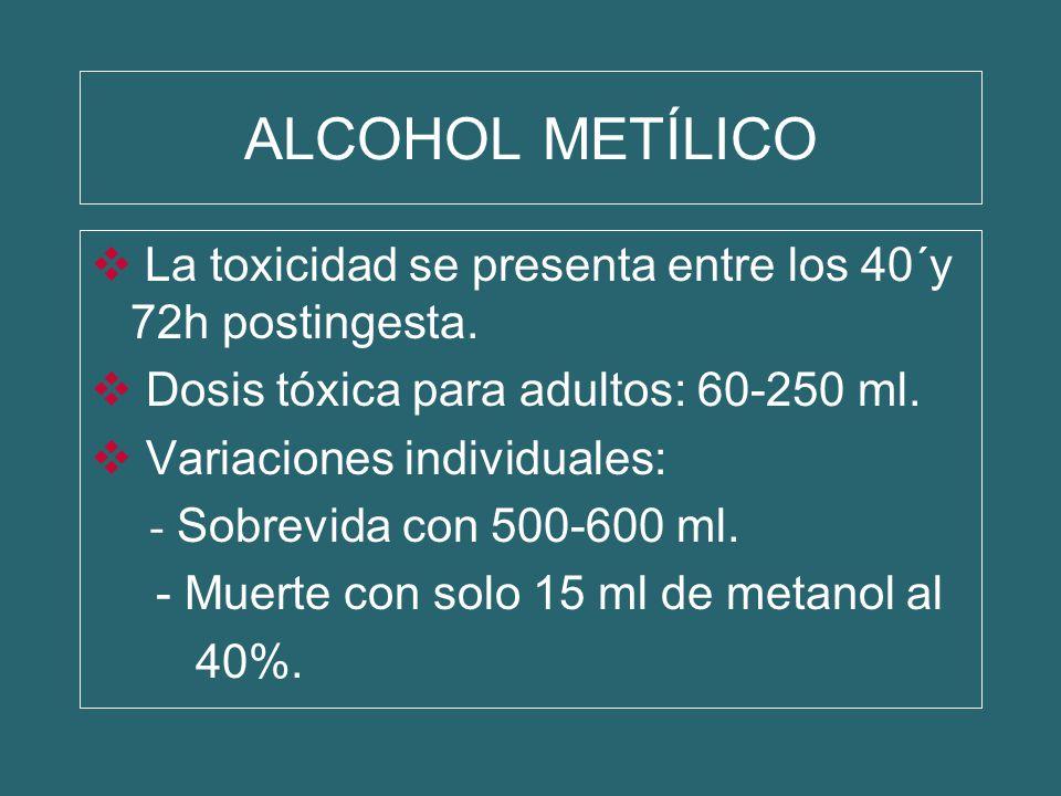 ALCOHOL METÍLICO La toxicidad se presenta entre los 40´y 72h postingesta. Dosis tóxica para adultos: 60-250 ml.