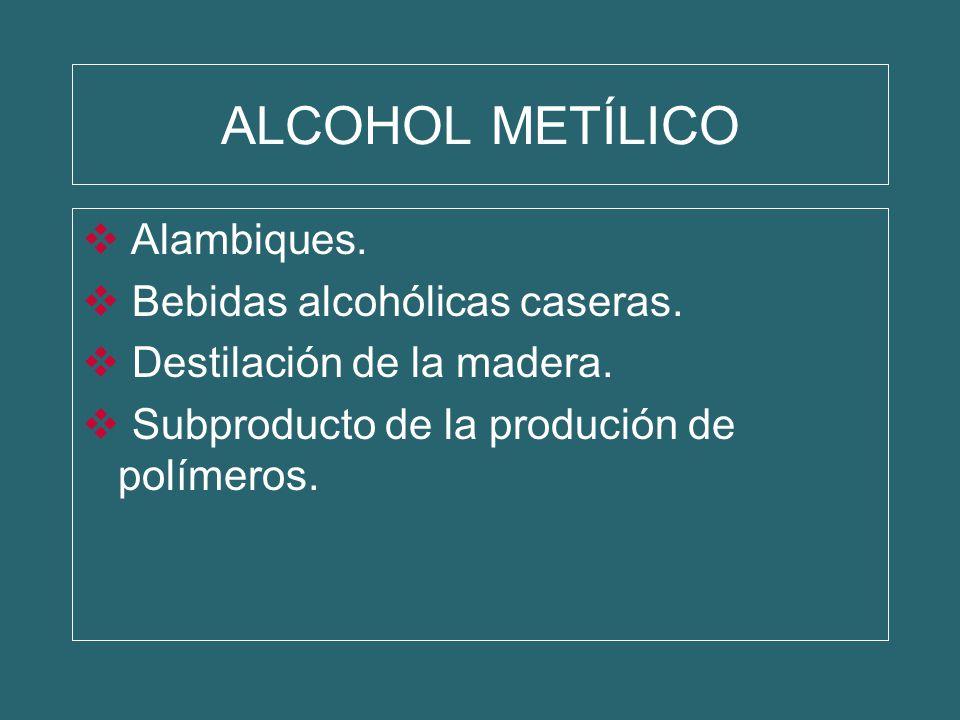 ALCOHOL METÍLICO Alambiques. Bebidas alcohólicas caseras.