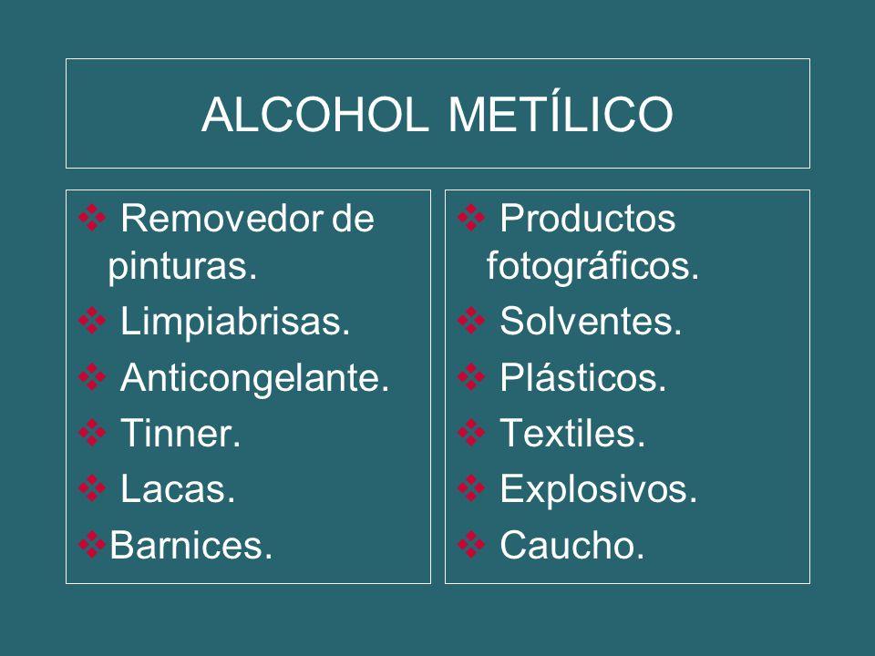 ALCOHOL METÍLICO Removedor de pinturas. Limpiabrisas. Anticongelante.