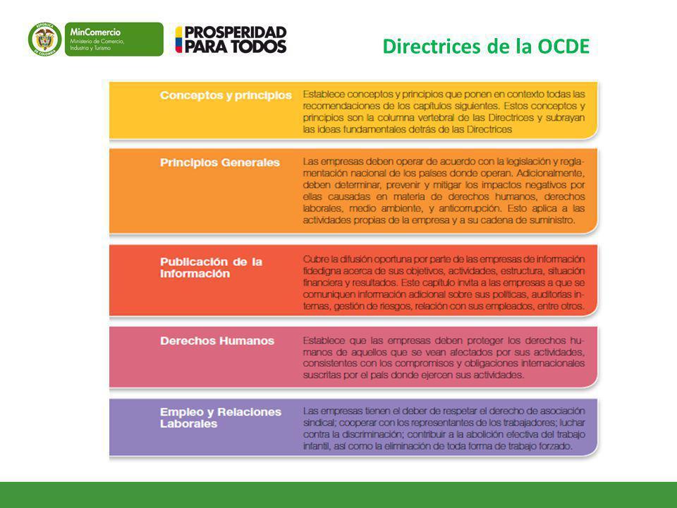 Directrices de la OCDE Capítulos a enfatizar especialmente en servicios: Derechos Humanos, Laboral y Consumidor.