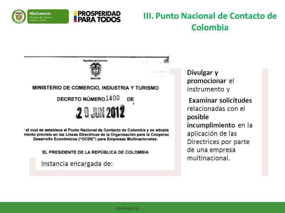 III. Punto Nacional de Contacto de Colombia