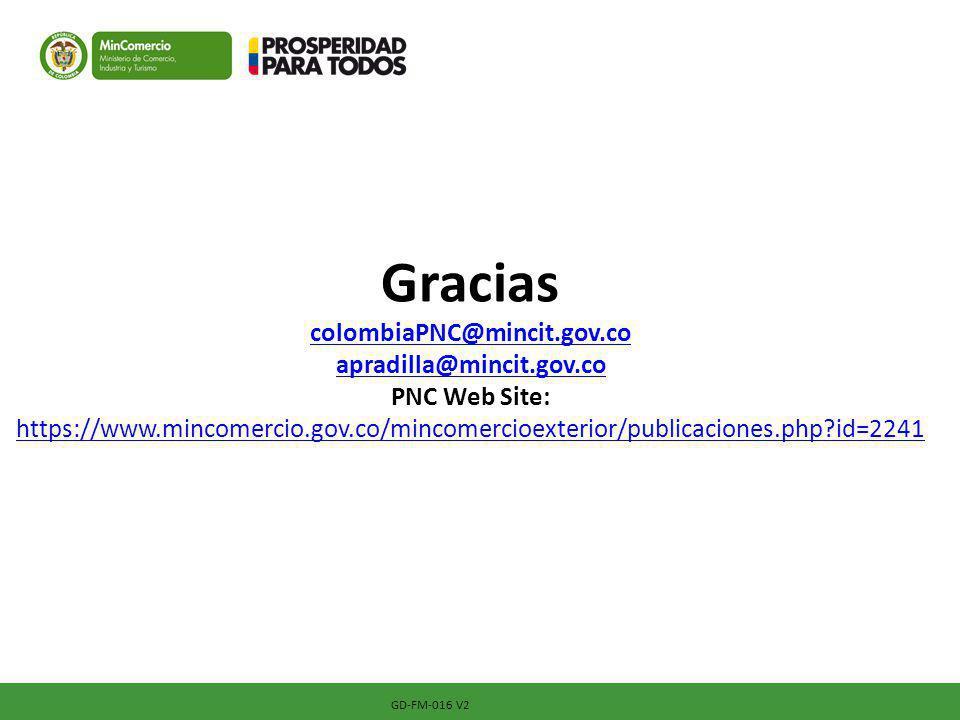 Gracias colombiaPNC@mincit. gov. co apradilla@mincit. gov