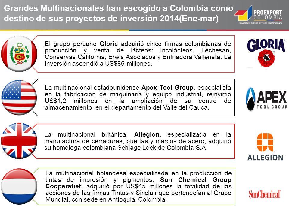 Grandes Multinacionales han escogido a Colombia como destino de sus proyectos de inversión 2014(Ene-mar)