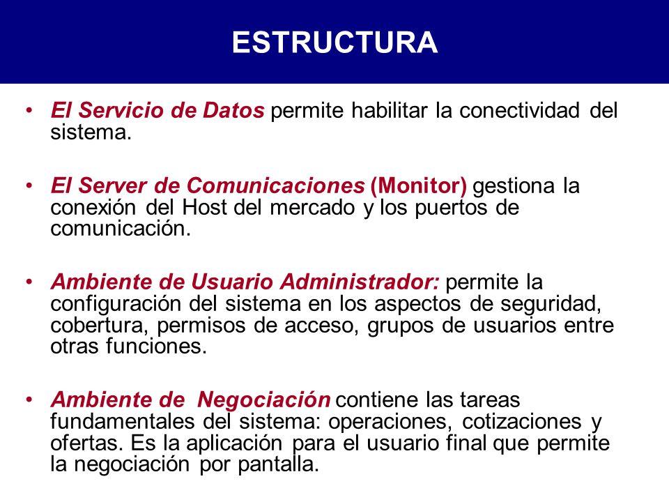 ESTRUCTURA El Servicio de Datos permite habilitar la conectividad del sistema.