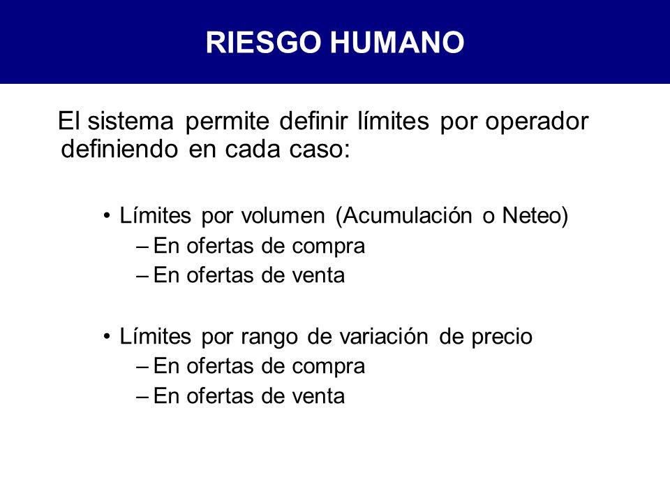 RIESGO HUMANO El sistema permite definir límites por operador definiendo en cada caso: Límites por volumen (Acumulación o Neteo)