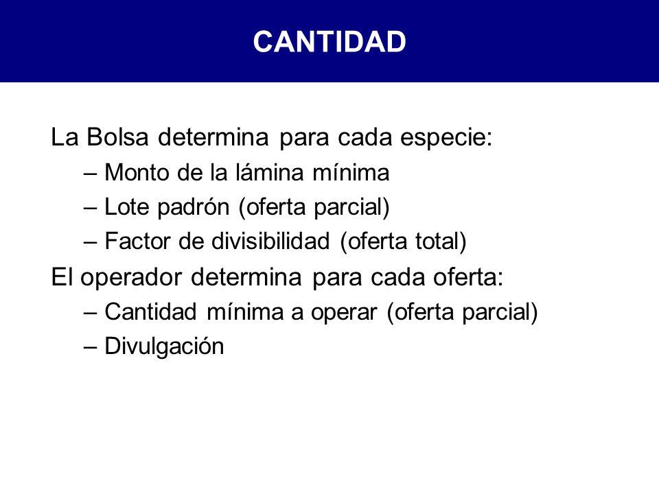 CANTIDAD La Bolsa determina para cada especie: