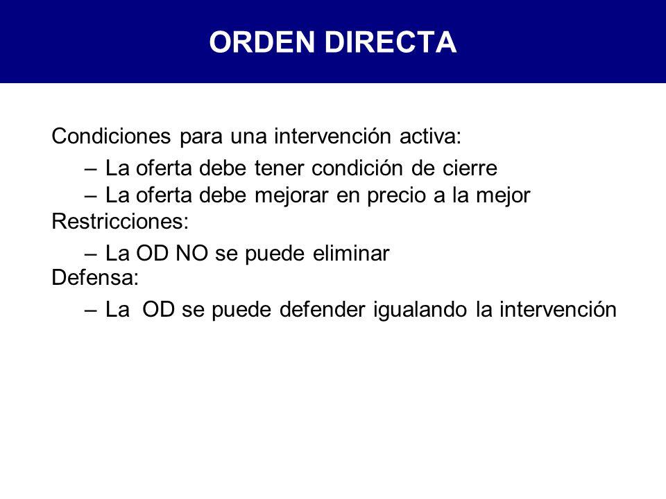 ORDEN DIRECTA Condiciones para una intervención activa: